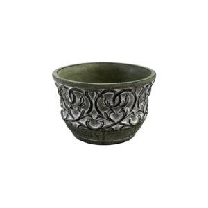 Pot en ciment gris avec motif ornement