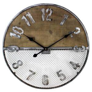 Horloge en bois et treillis de métal