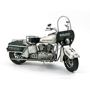Motocyclette de police en métal antique