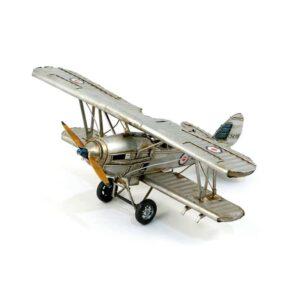 Avion biplan en métal argent