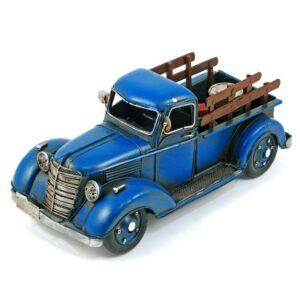 Camion de ferme en métal bleu antique