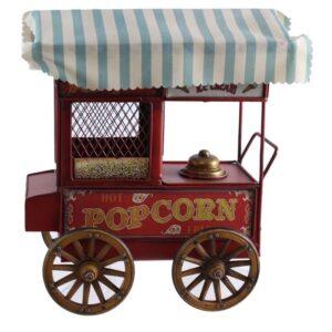 Chariot de pop corn en métal rouge antique