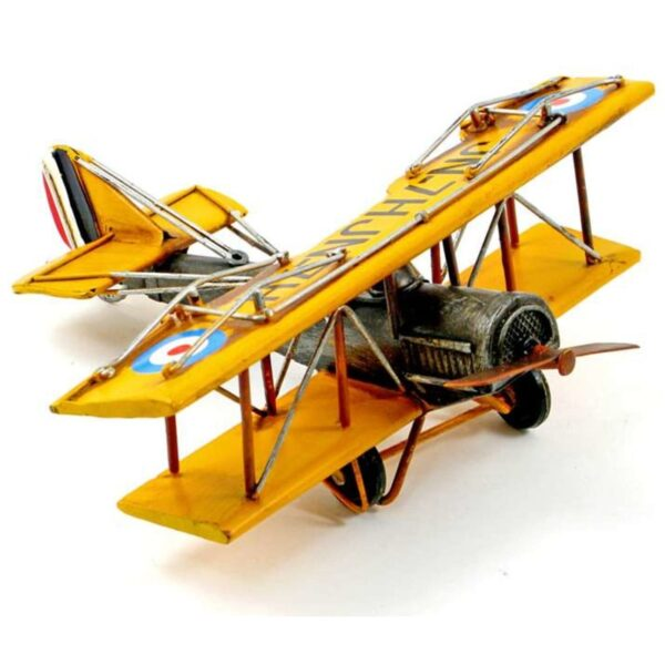 Avion biplan en métal jaune antique