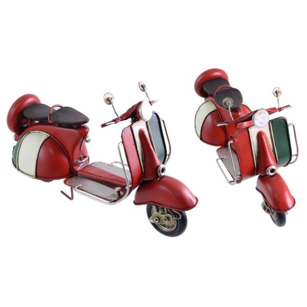 Scooter en métal rouge et blanc antique