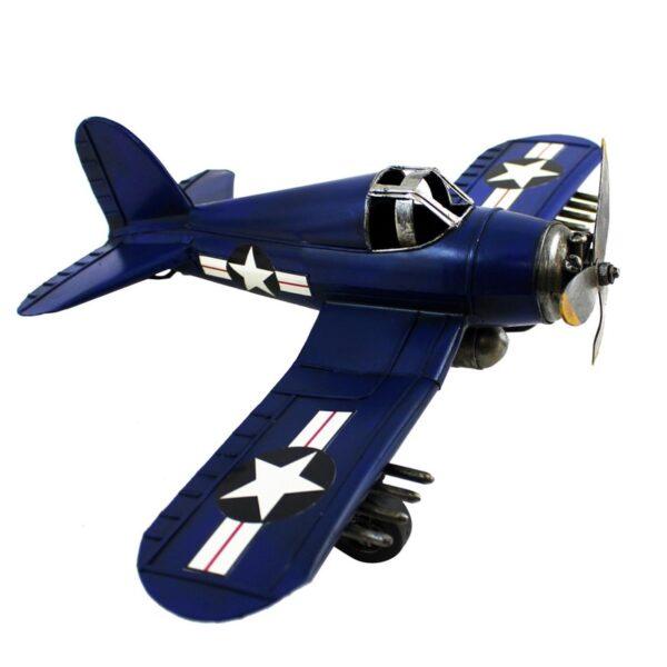 Avion en métal bleu antique
